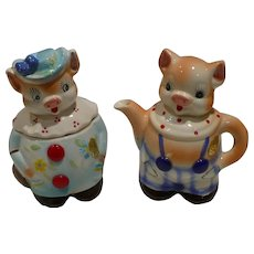 Enesco Pigs Creamer and Sugar Prunella  & Pomeroy