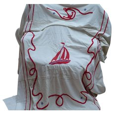 Sailboat Chenille Bedspread Twin Size