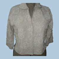 Beaded Lace 1950's Sweater