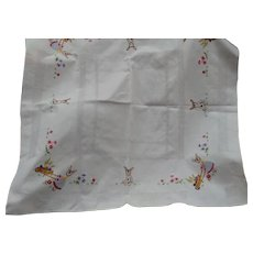 Easter Eggs Bunny Hand Embroidered Tablecloth
