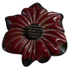 Bakelite Cast Flower Pin