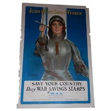 Original World War I Joan of Arc -Buy War Savings Stamps Poster by Haskell Coffin