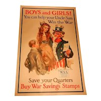 """Original WW 1 Poster by Flagg """"Boys and Girls! You Can Help Your Uncle Sam Win the War ..."""