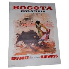 Vintage Mid-Century 4 Color Braniff International Airways Bogota Colombia Poster