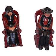 Vintage Cast Metal Amish Couple in Rockers Salt and Pepper  Set