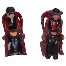 Vintage Cast Metal Amish Couple in Rockers Salt and Pepper  Set