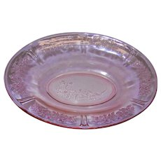 "Vintage Sharon ""Cabbage Rose"" Oval Vegetable Bowl in Pink Depression Glass By the Federal Glass Company.    1935 -1939"