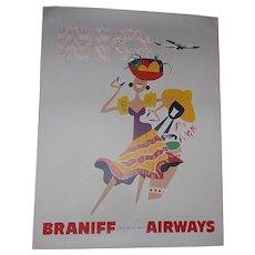 Original Mid-Century Braniff International Airways 4 Color Travel Poster of Rio de Janeiro