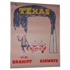 Original Mid-Century Braniff International Airways 4 Color Travel Poster of Texas