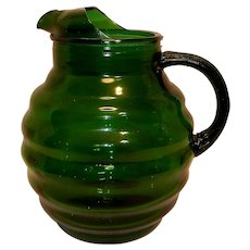 Vintage Mid-Century Green Anchor Hocking Whirly Twirly Pitcher