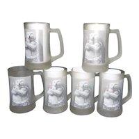 Vintage Set of 6 1995 Coca Cola Polar Bear Frosted Glass Mug/Stein