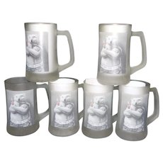 Vintage Set of 6 1995 Coca Cola Polar Bear Frosted Glass Mug/Stein
