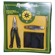 Vintage NIB Remington Stockman 3 Blade Knife and 15 Function Multi-Tool with Sheath Combo Pack
