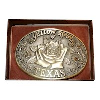 Vintage H.T.S. & Associates Solid Brass Yellow Rose of Texas Belt Buckle NIB