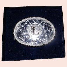 Vintage Montana Silversmith Initial L Belt Buckle NIB