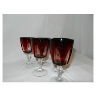 Vintage Ruby  to Clear Cordial  Glasses- France