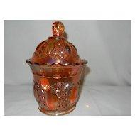 Vintage Imperial Beaded Jewel Carnival Glass Sugar Bowl
