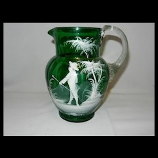 Antique Green Mary Gregory Style Victorian Glass Pitcher from Bohemia