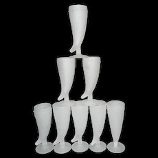 Vintage Frosted Powder Horn Pilsner Tiara Barware Glasses by Indiana Glass