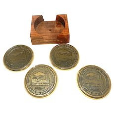 Vintage Brass Moss Landing Power Plant Coasters