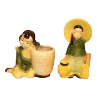 Vintage Royal Copley Asian Boy and Girl Ceramic Figural Planter