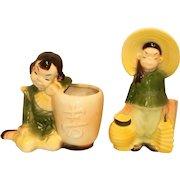 Vintage Royal Copley Asian Boy and Girl Ceramic Figural Planter