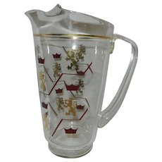 Vintage Glass Tea or Water Pitcher with Lion and Crown Motif