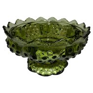 Vintage Fenton Colonial Green Hobnail Footed Candle Bowl