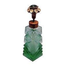 Vintage Jeweled Cut Glass Perfume Bottle