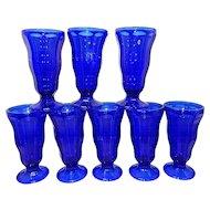 Vintage Anchor Hocking Cobalt Blue Ice Cream Parfait Sundae Soda Glasses