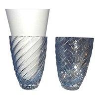Vintage Swirled Crystal Cut Glass Vases