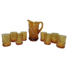 Vintage L.G. Wright Amber Wreathed Cherry Pattern Glass Pitcher & Glasses
