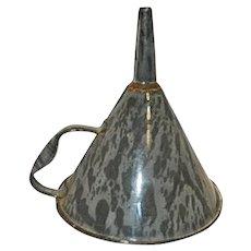 Vintage Haberman Gray Steel Enamel Ware Funnel