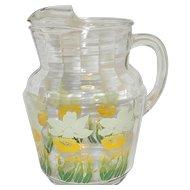 Vintage Anchor Hocking Floral Pattern Glass Pitcher