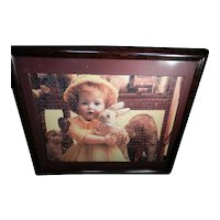 Vintage Framed and Matted Doll Puzzle