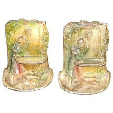 Hubley Polychrome Cast Iron Bookends Young Girl at the Wishing Well