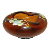 Vintage Imperial Glass Amber Hand Painted Petal Bowl