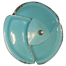 Vintage Mid-Century Turquoise and Gold California Pottery #404 Lazy Susan