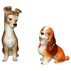 Vintage Ceramic Walt Disney Lady and the Tramp Dog Figurines - Red Tag Sale Item