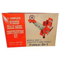 Vintage World War I Fokker D-1 Fighter Wooden Model Plane