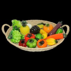 Vintage Imported Glass Fruit and Vegetable Display