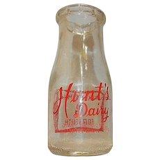 Vintage Hunts Dairy Half Pint Milk Bottle from Skowhegan ME