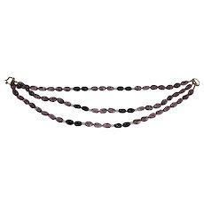 Vintage K J Lane Amethyst Triple Strand Beaded Necklace