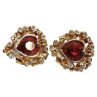 Vintage Swarovski Jeweled Heart Shaped Earrings
