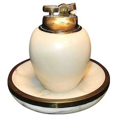 Vintage Onyx Ashtray and Table Lighter
