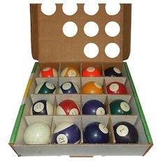 Vintage Clay Set of Billiard Balls by American