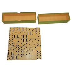 Vintage Celluloid Linen Special 4 Extra Wide Domino Set