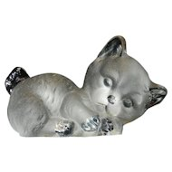 Vintage Viking Glass Satin Cat Figural Bookend or Paperweight