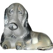 Vintage Viking Glass Satin Dog Figural Bookend or Paperweight