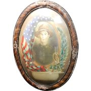 Antique World War I Military Doughboy Soldier Framed Portrait